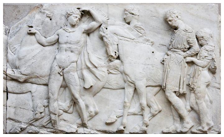 """Ксенофонт: """"На свист успокаиваем, прищелкивая языком понукаем"""" - фото A-marble-frieze-from-the-Parthenon-now-displayed-in-the-British-Museum, главная Разное Рацион , конный журнал EquiLIfe"""