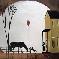 Художница Дэбби Крисвелл (Debbie Criswell) - фото balloon-tag-cat-horse-girl-moon-folk-art-debbie-criswell-200x200, главная Фото , конный журнал EquiLIfe