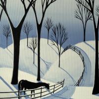 Художница Дэбби Крисвелл (Debbie Criswell) - фото country-winter-road-horse-snow-folk-art-debbie-criswell-200x200, главная Фото , конный журнал EquiLIfe