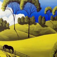 Художница Дэбби Крисвелл (Debbie Criswell) - фото downhill-graze-folk-art-landscape-debbie-criswell-200x200, главная Фото , конный журнал EquiLIfe