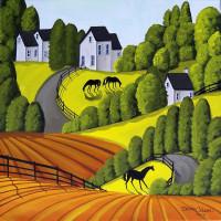 Художница Дэбби Крисвелл (Debbie Criswell) - фото three-ponies-horse-landscape-debbie-criswell-200x200, главная Фото , конный журнал EquiLIfe