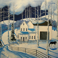 Художница Дэбби Крисвелл (Debbie Criswell) - фото winter-farm-a-folkartmama-original-folk-art-debbie-criswell-200x200, главная Фото , конный журнал EquiLIfe